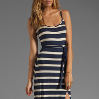 LA Made Stripe Side Slit Tank Maxi Dress in Galaxy/Oatmeal from REVOLVEclothing.com