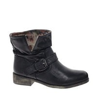New Look Black Buckle Biker Boots at asos.com