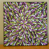 Painting Fuchsia and Green Aboriginal Inspired 12 x12 by Acires