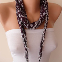 Crochet - Purple/Brown Scarf - Headband - Summer Scarf  - Thin and Lightweight Scarf