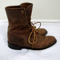 Vintage Brown Lace Up Roper Boots Chocolate Ankle High Leather Womens Size 5 1/2 Half