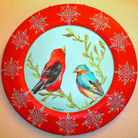 Decorative plate with birds hand painted by nettielouise on Etsy