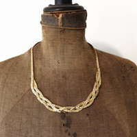 Braided Gold Necklace - Chunky Gold Chain Necklace