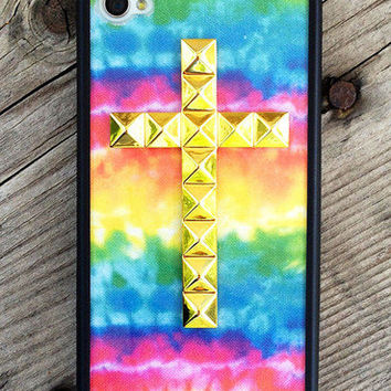 Tie Dye Gold Studded Cross iPhone 4/4s Case - iPhone 4/4s