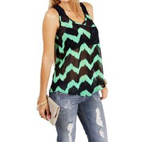 NavyMint Chevron Sleeveless Top