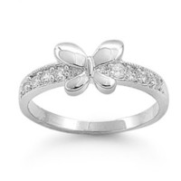 Sterling Silver ring size 1 CZ Butterfly Baby Girl Clear Child Kid Gift .925 b30