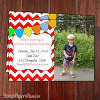 Red Chevron Birthday Invitation - Printable Invitation - Chevron Invitation - Bday Invite - Custom Photo Invitation