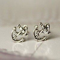 retro anchor earrings