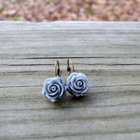 Gray Rose Earrings - Grey - Flower - Bridesmaid Gift - Wedding Jewelry - Gifts Under 25