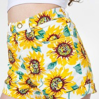 Sunflower Print Stretch Bull Denim High-Waist Cuff Short | Denim | Women's Shorts | American Apparel