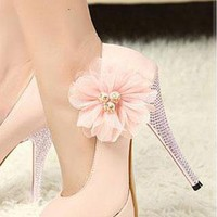Women's Fashion Flower Shoes Rhinestone High Heels In PINK  from NaomiShu