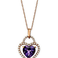 10k Rose Gold Necklace, Amethyst (1-5/8 ct. t.w.) and Diamond (1/6 ct. t.w.) Heart Pendant - Necklaces - Jewelry & Watches - Macy's