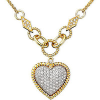 Effy Collection Diamond Necklace, 14k Gold and 14k White Gold Pavé Diamond Heart Pendant (3/4 ct. t.w.) - Necklaces - Jewelry & Watches - Macy's