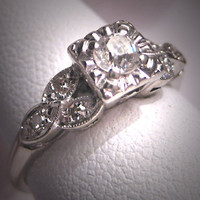 Antique Diamond Wedding Ring Vintage Art Deco by AawsombleiJewelry