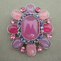 Pink Purple Glass Stone Cabochon Vintage Flower Brooch