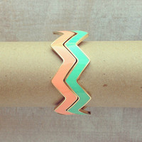 Pree Brulee - Mint & Peach Chevron Bangle Set