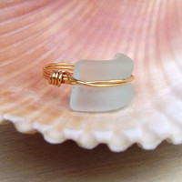 Aqua Seaglass Ring:  24K Gold Wire Wrapped Seafoam Mint Green Curved Bottle Lip Statement Beach Jewelry, Size 6.5