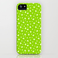 Hearts Pattern #5 - Green iPhone & iPod Case by Ornaart