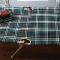 60s VINTAGE CAMPING COT Mid Century Tartan Plaid Aluminium Folding Outdoor Lawn Furniture Collapsible Bunk Lounge Chair Bed