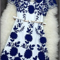 Sexy Handmade Embroidered Hollow Out Dress