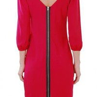 Bright Fuchsia Long Sleeve Shift Dress with Back Zipper