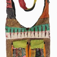 Boho Bohemian Hippie Ripped Razor Cut Patch 2 Front Pockets Sling Crossbody Monk Bag Purse Nepal
