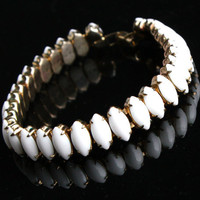 Vintage Milk Glass Bracelet -  Gold Tone 1960s Retro Bridal Costume Jewelry / Marquise White
