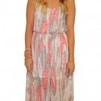 Pink Multi-Print Sleeveless Maxi Dress with Sheer Skirt