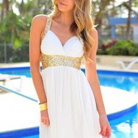 White V-Neck Dress with Gold Sequin Detail & Cross Back
