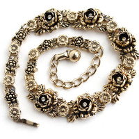 Vintage Rhinestone Flower Necklace - Gold Tone Floral Collar Choker Costume Jewelry / Rose Vine