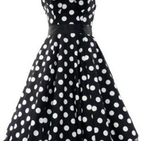 Amazon.com: 50's Vintage Tea Prom Dress Big Polka Dot Black & White: Clothing