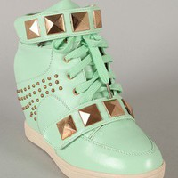 Bumper Nicholas-02 Pyramid Studded Lace Up Wedge Sneaker