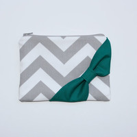 Zipper Pouch / Cosmetic Case - Gray and White Chevron with Emerald Green Side Bow