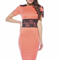 Coral Fitted Dress with Lace Waist Overlay