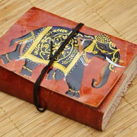 Decorative Elephant Embossed Leather Journal | WithAnIndianTouch - Paper/Books on ArtFire