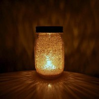 Gold Fairy Dust Mason Jar Candle Display by dreambox on Zibbet
