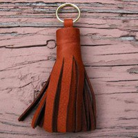 Mahogany Leather Tassel keychain by dreambox on Zibbet