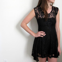 See Through Mini Dress Black Lace Hi Low High Lo Formal Sheer Thin Short Babydoll Grunge
