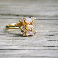 Beautiful Vintage Ring, Faux Opal and Rhinestones on a Gold Toned Band, Signed AVON, Trending