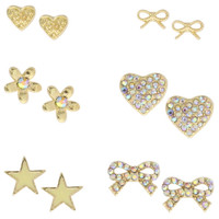 Payless, Women's (6 pk) Bow/Heart Earring Set, Women's