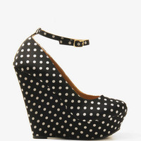 Polka Dot Platform Wedges