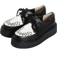 Gothic Lolita Mesh Rubber-soled Shoes Black * White (shoes114)  [Cosmates]