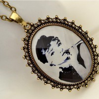 Vintage Beauty Head Portrait Long Chain Pendant Necklace at Jewelry Store Gofavor
