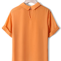 Neon Orange Peter Pan Collar Shirt
