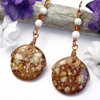 Copper White Shell Beaded Earrings Handmade Spirals Swarovski Crystals