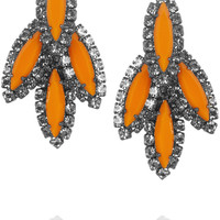 Elizabeth Cole Hematite-plated Swarovski crystal earrings – 50% at THE OUTNET.COM