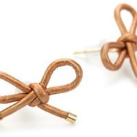 "By Boe ""Bronze Leather Reminder Bow Earrings"" 14k Gold Filled"