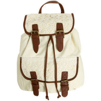 Cute Korean Fashion Vintage Women Crochet Lace Trim Backpack School Bag Rucksack