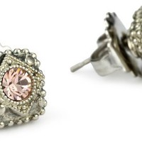 "Sorrelli ""French Blush"" Vintage Style Crystal Stud Silvertone Earrings"