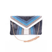 Black & Blue Striped Clutch - Unique Vintage - Prom dresses, retro dresses, retro swimsuits.